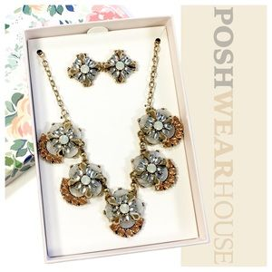 Jewelry - Copper & Moonglow Statement Earring & Necklace Set